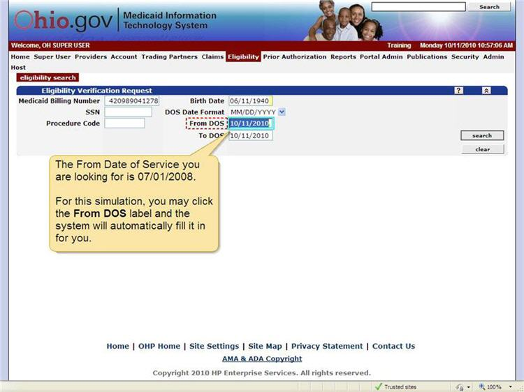 Eligibility Verification Request panel with From DOS field highlighted.