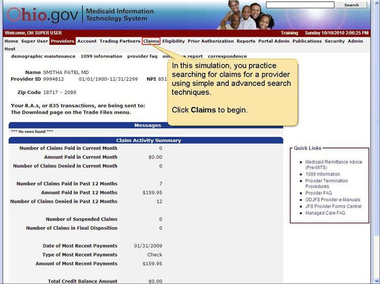 MITS home page with Claims menu option highlighted.