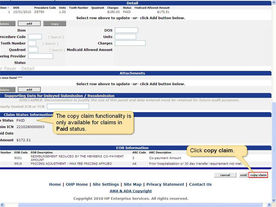 Claim panel showing Claim Status as Paid. The copy claim button is highlighted.