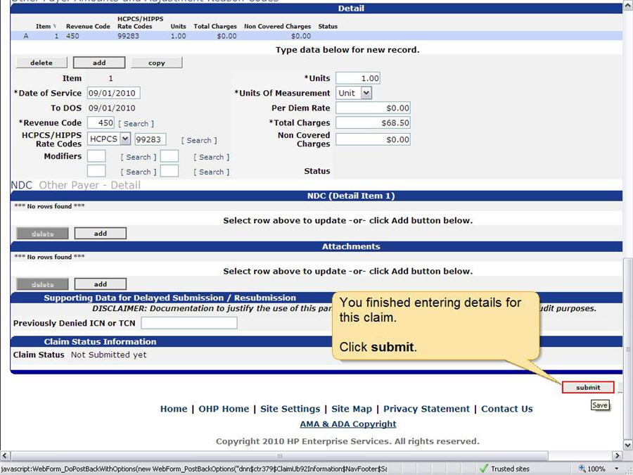 Institutional Claim panel with the submit button highlighted.