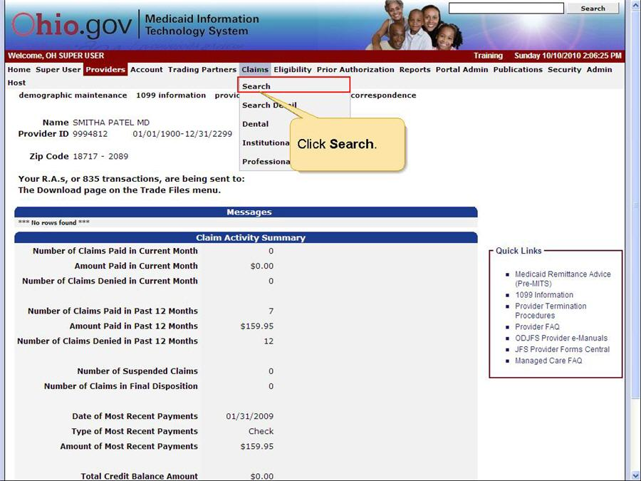MITS home page with Claims menu and Search submenu option highlighted.