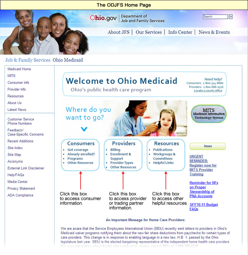 ODJFS Home page with Consumers, Providers, and Resources links highlighted