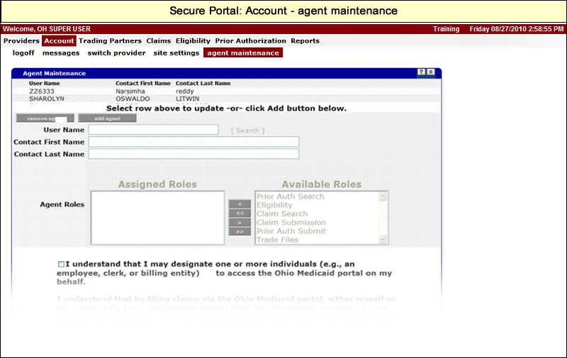 Account menu with Agent Maintenance submenu selected