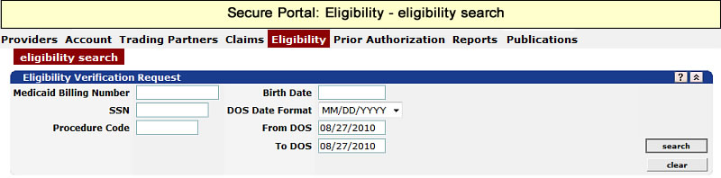 Eligibility menu with Eligibility Search submenu selected