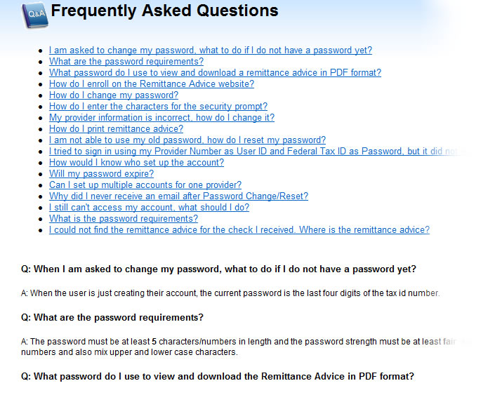 Frequently Asked Questions help window showing a list of questions and answers