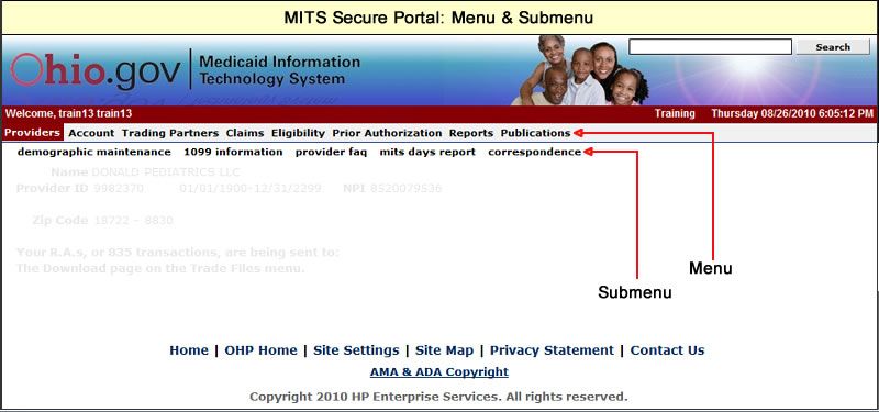 MITS Secure Portal page with menu and submenu highlighted