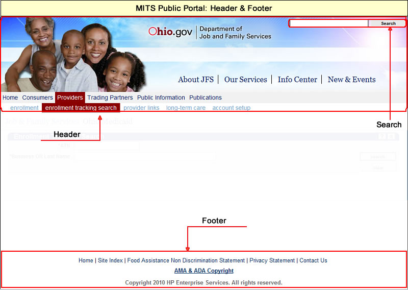 Public Portal page with header area, footer area, and search feature highlighted