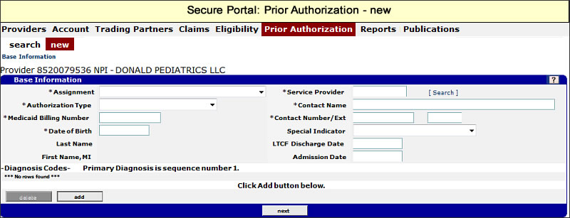 Prior Authorization menu with New submenu selected
