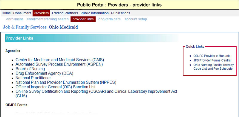 Provider Links page