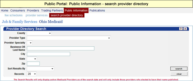 Provider Directory Search panel
