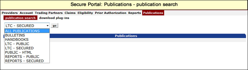 Publication search panel with drop-down list of publications showing