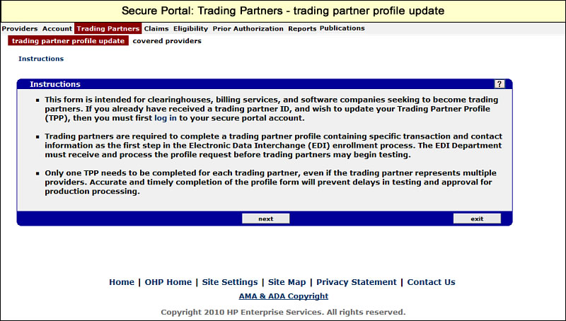 Trading Partners menu with Trading Partner Profile update submenu selected
