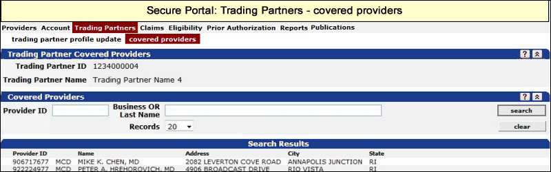 Trading Partners menu with Covered Providers submenu selected