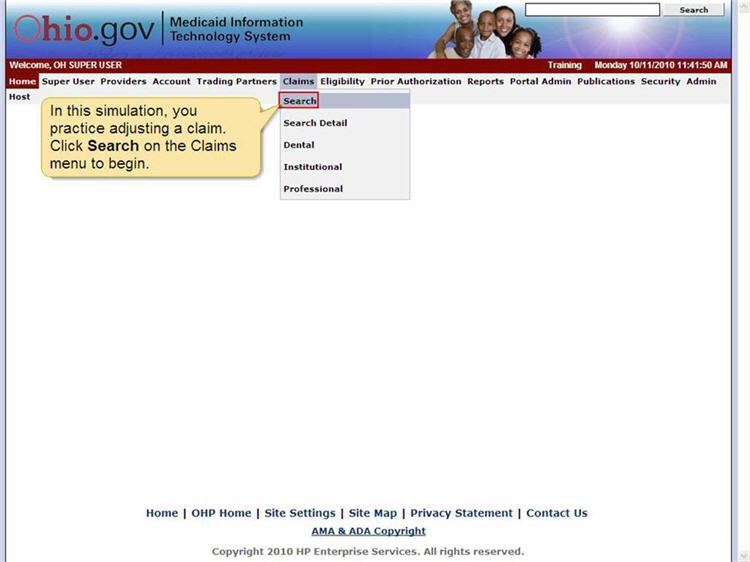 MITS home page with the Claims menu and Search menu option highlighted.