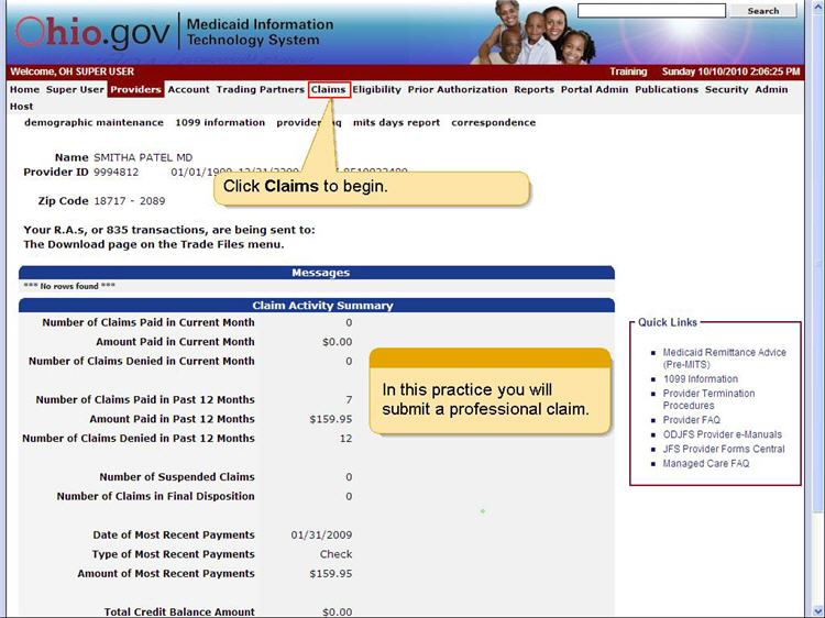 MITS home page with the Claims menu highlighted.