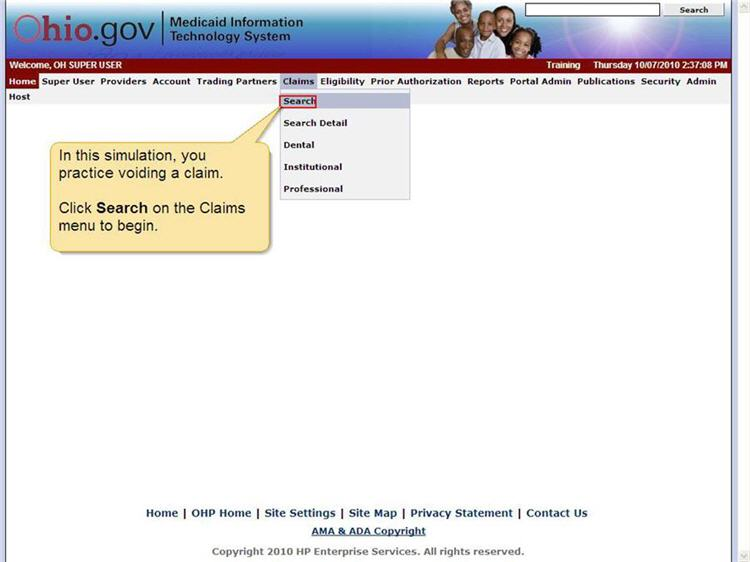 MITS home page with Claims menu and Search menu option highlighted.
