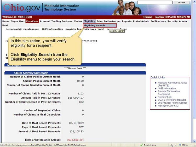 MITS home page with Eligibility menu and Eligibility Search submenu highlighted.