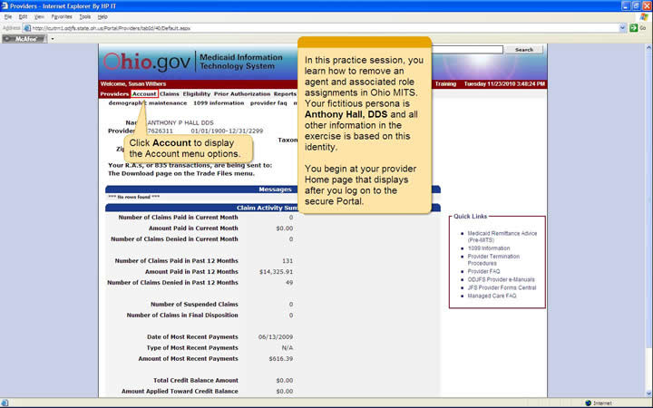 Provider Home page with Account menu highlighted