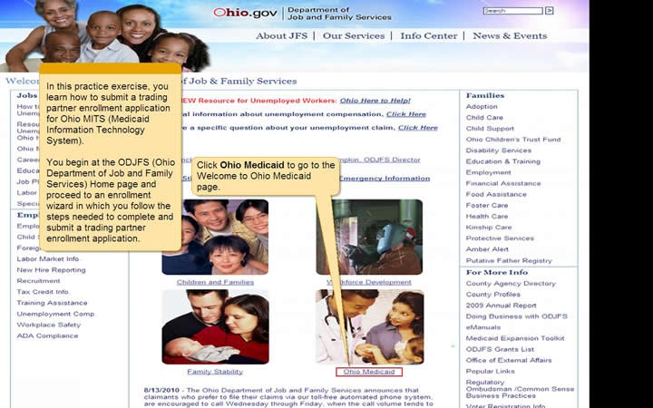 ODJFS Home page with the Ohio Medicaid link highlighted