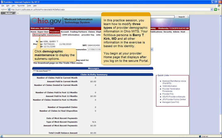 MITS Provider home page