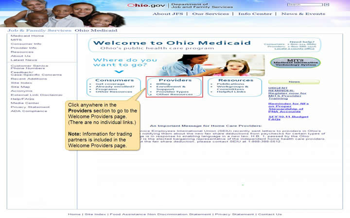 Welcome to Ohio Medicaid page with Providers link highlighted
