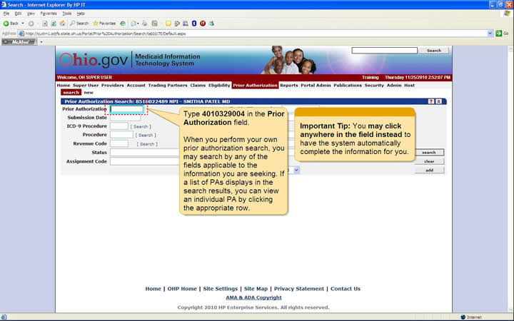 Prior Authorization Search panel with Prior Authorization field highlighted