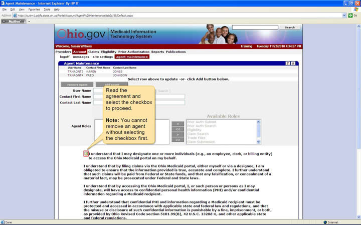 Agent Maintenance panel with the agreement checkbox highlighted