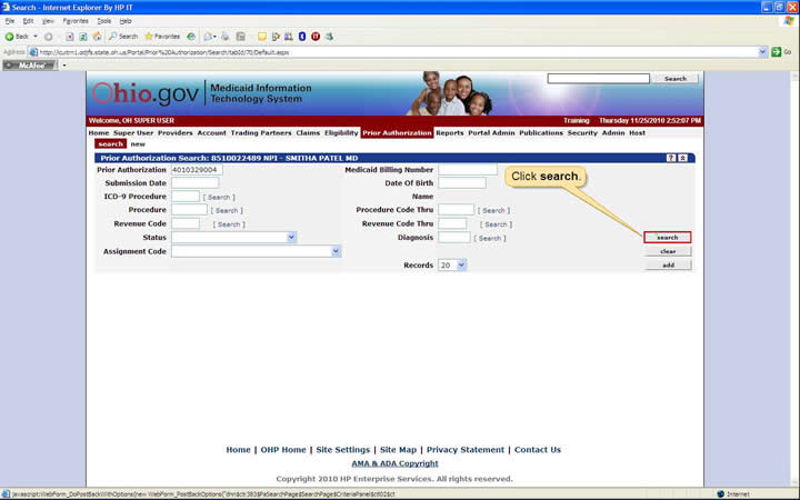 Prior Authorization Search panel with search button highlighted