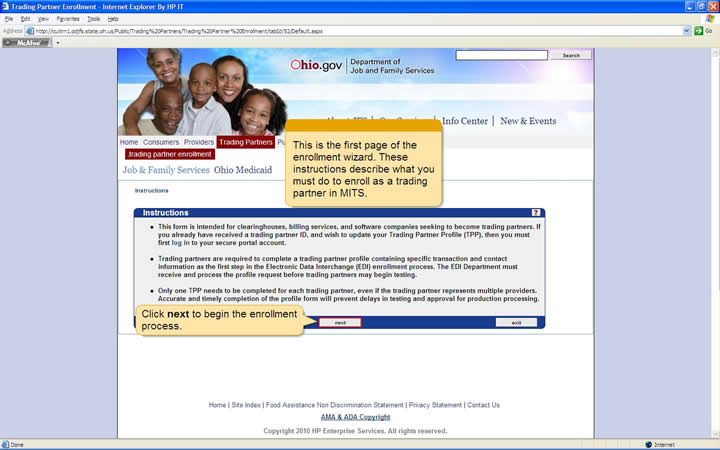 Enrollment wizard Instructions page with next button highlighted
