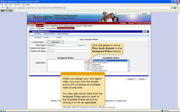 Agent Maintenance panel showing the Assigned Roles and Available Roles lists