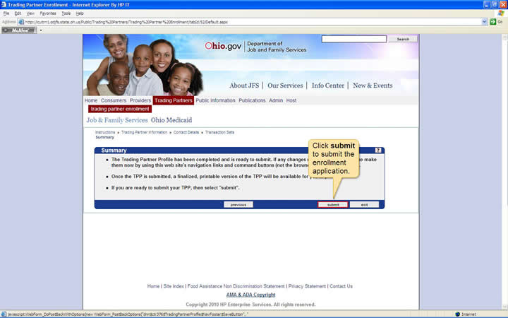 Summary panel with the submit button highlighted