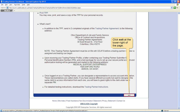 Bottom of the Confirmation page with the exit button highlighted